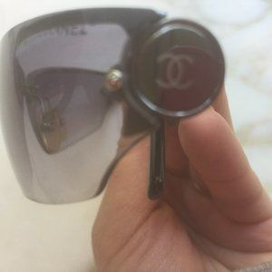 Chanel Sunglasses Metal Vintage Women Black